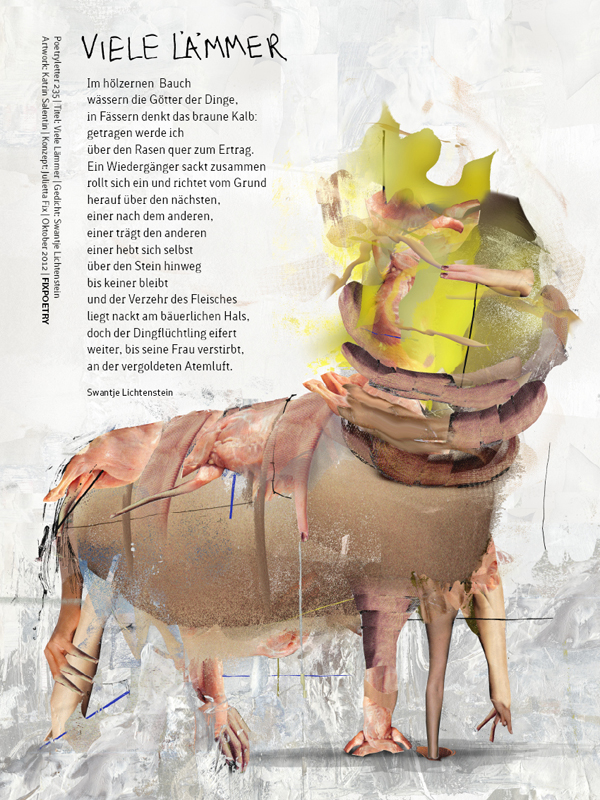 Poetryletter 235 · Viele Lämmer ·  Swantje Lichtenstein · Digitale Collage 2012 · Fine Art Print · 40×30 cm