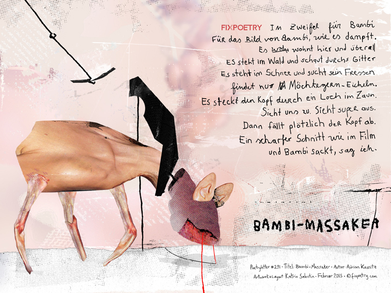 Poetryletter 291 · Bambi-Massaker · Adrian Kasnitz · Digitale Collage 2015 · Fine Art Print · 30×40 cm