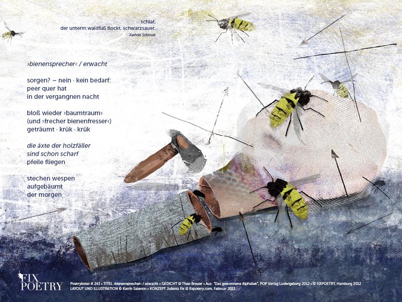 Poetryletter 243 · ›bienensprecher‹ / erwacht · Theo Breuer · Digitale Collage 2013 · Fine Art Print · 30×40 cm