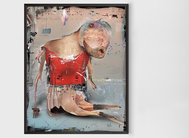 Wurm mit rotem T-Shirt, 2013/15, Digitale Collage, kaschiert auf Aludibond, 60×50 cm